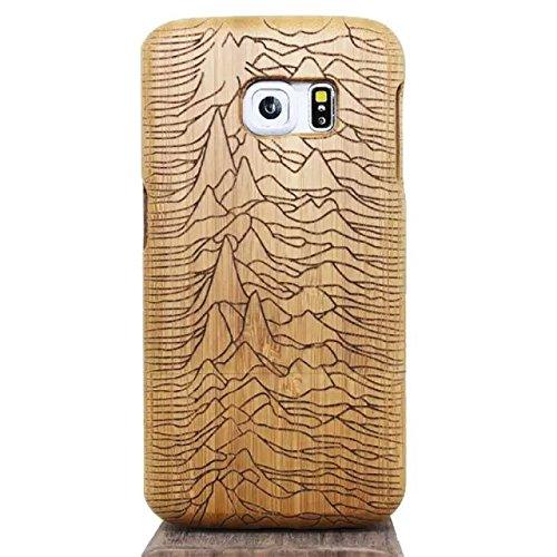 Vandot 1X Madera Shell Funda Case Cover Samsung Galaxy S6 Edge SM-G925 Caso Brújula Compass Híbrido Retro Madera Cubierta Caja de Bambú Premium Trasera Dura de la Contraportada del Patrón Tallado Lujo S6-11