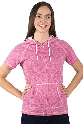 Pimatee Women's French Terry Short Sleeve Zip Hoodie (XX-Large, Pink Flambe)