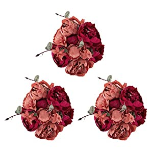 EZFLOWERY 3 Pack Artificial Peony Silk Flowers Arrangement Bouquet for Wedding Centerpiece Room Party Home Decoration, Elegant Vintage, Perfect for Spring, Summer and Occasions (3, Red) 47