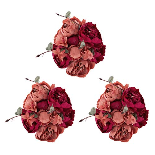 EZFLOWERY 3 Pack Artificial Peony Silk Flowers Arrangement Bouquet for Wedding Centerpiece Room Party Home Decoration, Elegant Vintage, Perfect for Spring, Summer and Occasions (3, -