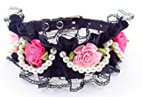 Adjustable Pet Dog Cat Leather Buckle Collar Flowers Pearl Lace Princess Style S