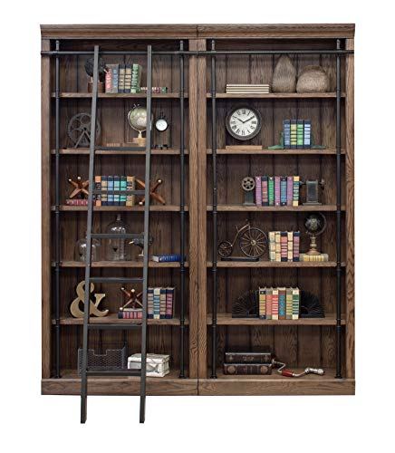 Martin Furniture AE4094x2-AE402 Avondale 2 Bookcase Wall, Oak (Library Shelves With Ladder)