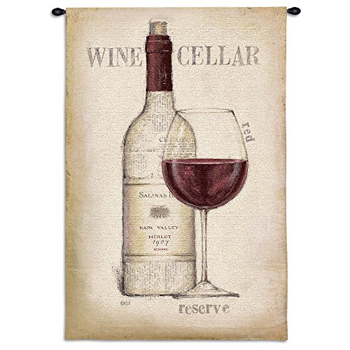 Fine Art Tapestries Wine Cellar Hand Finished European Style Jacquard Woven Wall Tapestry USA Size 53x36