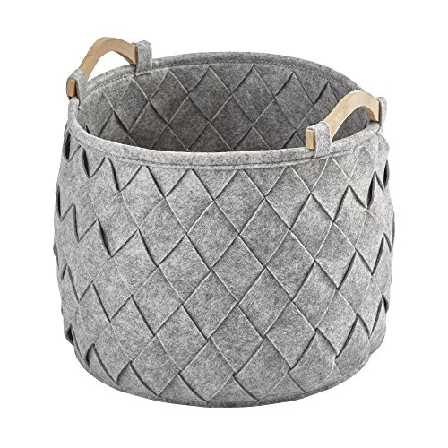 Amy Bath Storage Bin with Handles, Basket Organizer for Towels, Magazines, Toys (Light Gray) (Medium (13.8 W x 13.8 D x 13.8 H in))