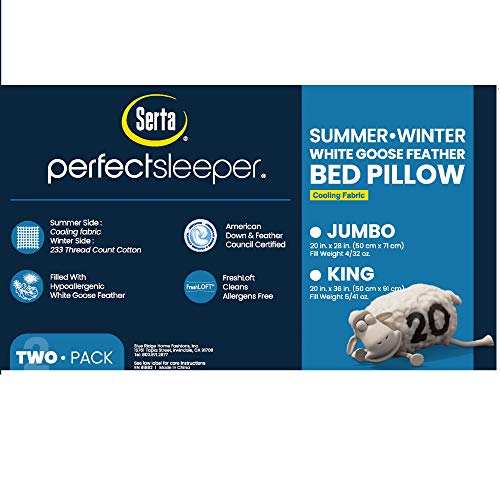 Serta 233 Thread Count Summer/Winter White Goose Feather Bed 2 Pack Pillow, Jumbo