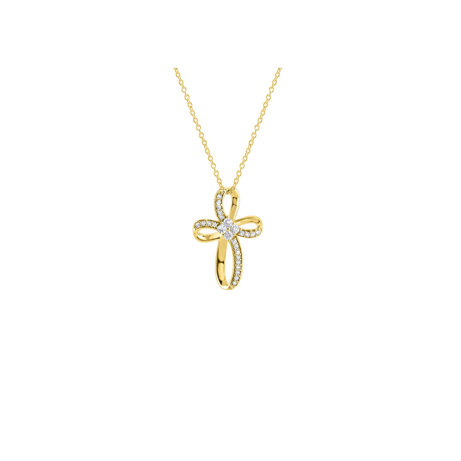 DiscountHouse4you 0.30 ct Round Cut Cubic Zirconia Infinity Knot Loop Cross Pendant Necklace Religious Jewelry Birthday Gift 14k White Gold Over