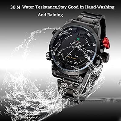 Waterproof Mens Watch,Hosamtel Multi Function Quartz Mens Military Sport Wrist LED Watch,Black White
