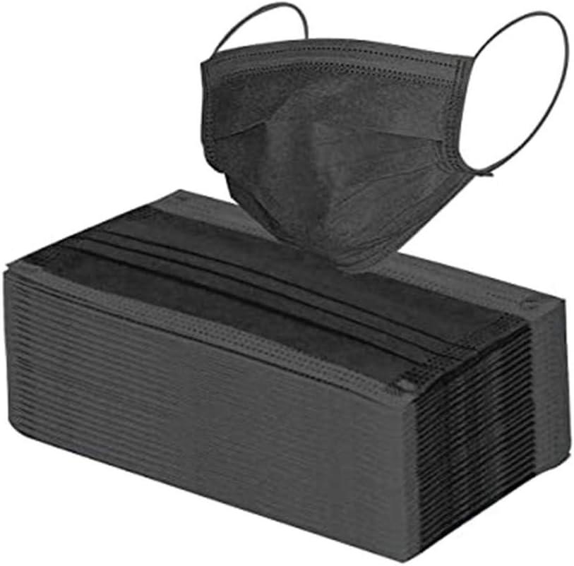 MERICAL-Hommes Protección 3 Capas Transpirables con Elástico para Los Oídos Pack 50 Unidades(50,Negro)