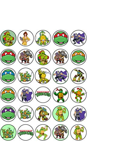 30 x Edible Cupcake Toppers - Teenage Mutant Ninja Turtles TMNT Themed Collection of Edible Cake Decorations | Uncut Edible Prints on Wafer Sheet