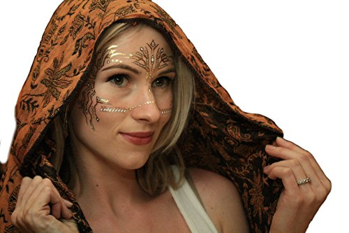 [Metallic Temporary Tattoos, (Me Too Face Mask) by Golden Ratio Tats, festival face paint, Gold and white flash] (Masquerade Mask Tattoo)