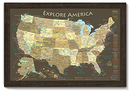 National Parks Map and USA Map - Explore America Map - Large Framed Push Pin Map - Brown Edition - Includes 100 map pins