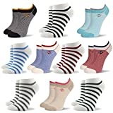 RioRiva Women Fashion Designs No Show Socks - Low cut Cotton Ankle Socks Patterned Style (US Women Size 5-9/EU 35.5-40, WSK120-10 pack navy Striped)