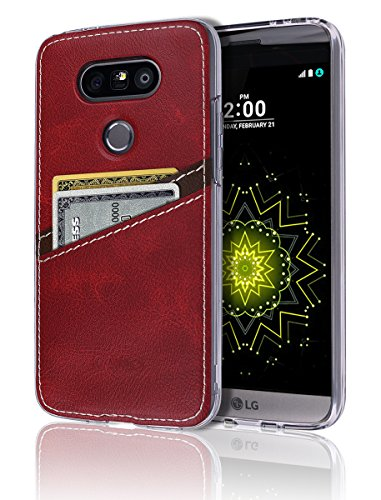 G5 Case [Leather Back Cover] [Wallet Case] [2 Card Holder] Soft Slim Fit Hybrid Polyurethane TPU Flexible Bumper ID Credit Card Cash Slot Lightweight Shock Absorbing Protection LG G5 (Standford 4 Light)