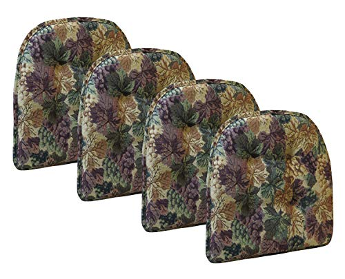 Klear Vu Cabernet Gripper Tufted Non Slip Designer Tapestry Dining Chair Cushion, Set of 4, 4 Pack, Multicolor (Chair Of Kitchen Pads Set 4)