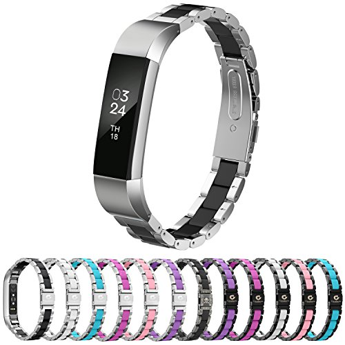 GreenInsync Compatible Fitbit Alta Bands Metal, Replacement for Fitbit Alta HR Stainless Steel Bands Adjustable Accessory Wristband Small Large W/Silicone Cover for Alta Bracelet Girls Boys-Black
