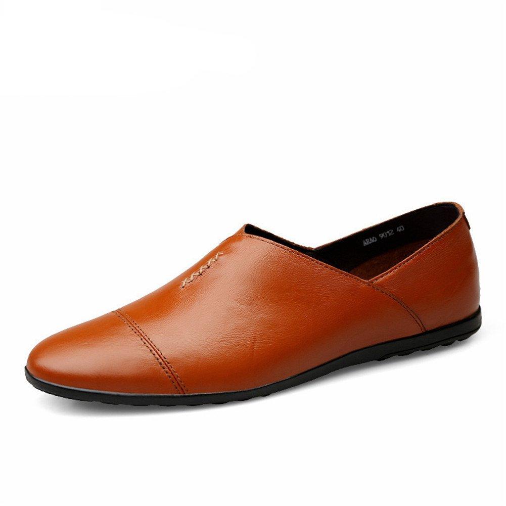 Exquisito Casual Cuero Mocasines Hombre Ponerse Conducción Estilo Británico Negocios Zapatos 37 EU|Rojo Marrón