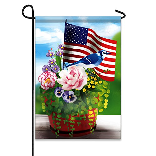 "Jolly Flags American Flag with Flowers and Blue Jay 12.5""x18"