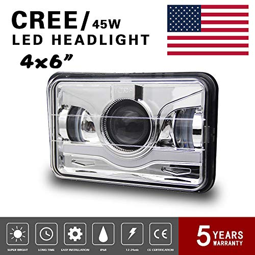 Globled 1x 4x6'' led Rectangular Headlights Angel Eyes dot Approved 6000k White Projector Sealed Beam Replacement high Low Beam drl fits Lamps Bulbs for H4 for Honda XR400 XR250 XR650 Suzuki DRZ