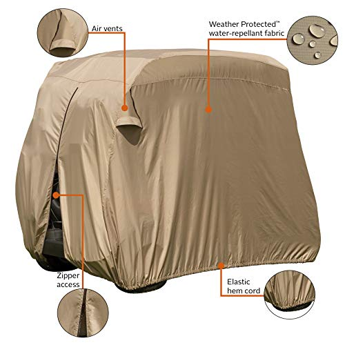 Classic Accessories Fairway Golf Cart Easy-On Cover, Tan, Fits Club Car Precedent, Yamaha Drive & EZ Go