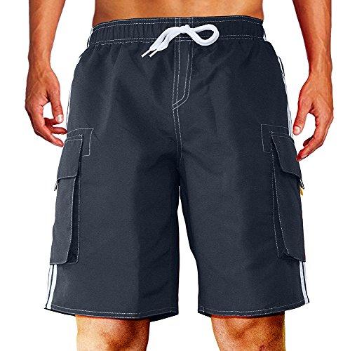 - Dwar Men's Swim Trunks Beach Short (Large, Dark Blue)