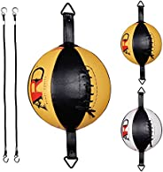 ARD Leather Boxing Speed Bag MMA Double End Dodge Ball Punching Training Floor to Ceiling Rope Workout (Yellow