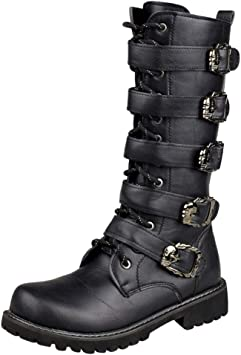 CIELLTE Bottes Hautes Pour Hommes Bottes De Moto Boots Homme Cuir Hiver Homme Mode Retro Solide Cuir Bottes Rond Steampunk Gothique Vintage Style