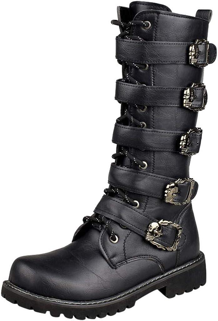 Botas de Moto para Hombre y Mujer,ZARLLE Botas Altas,Botas de Cuero con Cordones,Boots Negras con Cremallera,Botas de Combate con Hebilla,Botas Militares Hombre Antideslizante