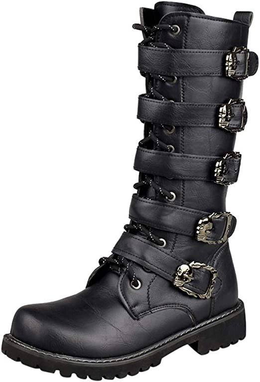 Faux Leather Men Combat High Top Motorcycle Snow Ankle Boots Fashion Lace Up