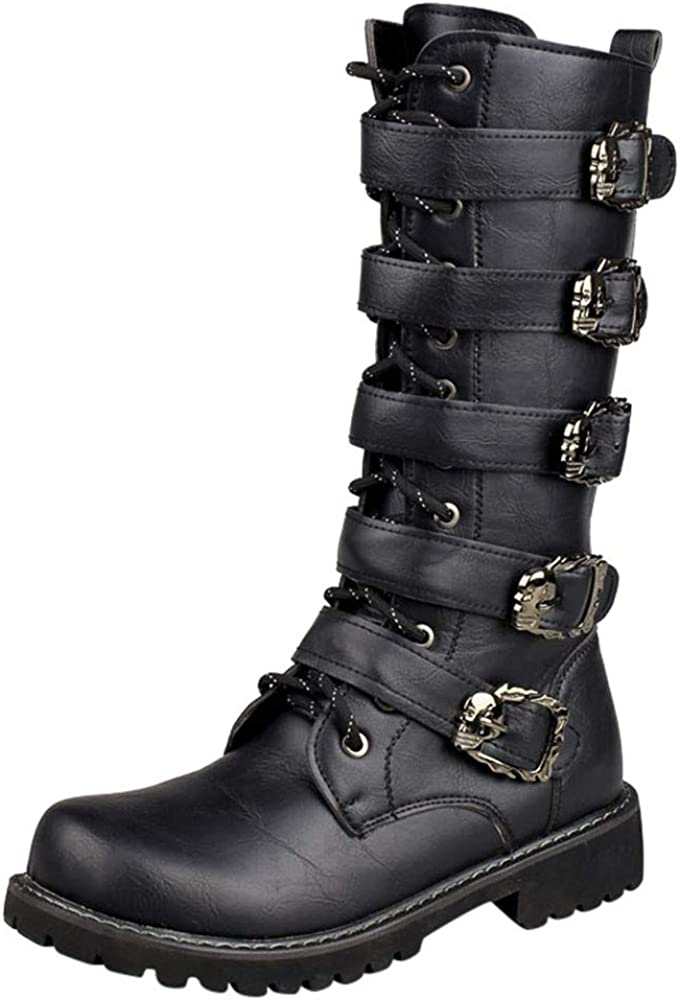 Black Tide High Boots for Mens Casual Engineer Lace Up