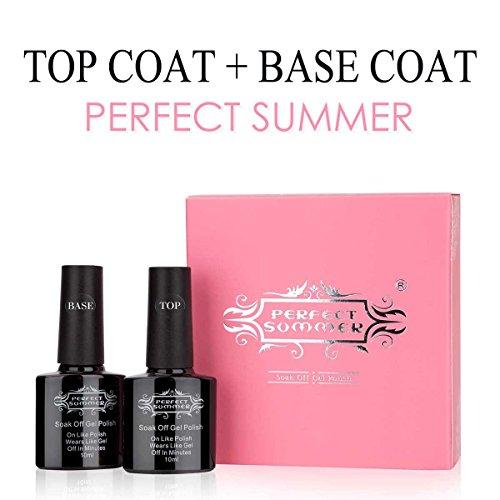 Perfect Summer Gel Nail Polish Base Coat and Top Coat Soak Off UV LED Gel Varnish Clear Shiny Finish,Pack of 2PCS, 10ml Each
