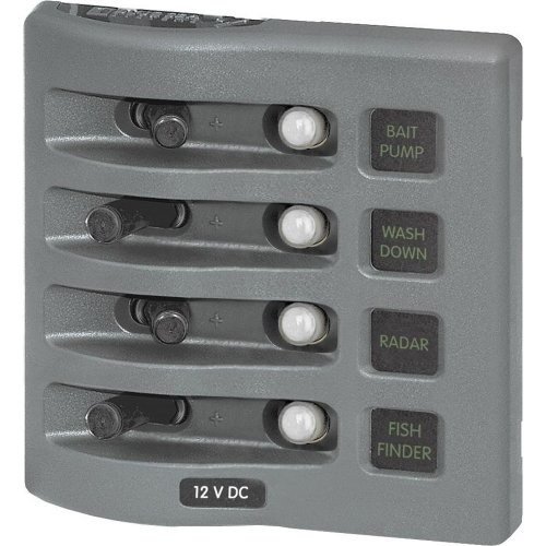 Blue Sea 4374 WeatherDeck Water Resistant Circuit Breaker Panel - 4 Position - Grey (Breaker Panel Circuit Weatherdeck)