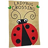 Lantern Hill Burlap Garden Flag Yard Decoration; 12 inches by 18 inches; Double Sided (Ladybug Crossing)