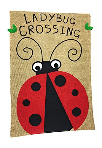 Lantern Hill Burlap Garden Flag Yard Decoration; 12 inches by 18 inches; Double Sided (Ladybug (Ladybug Lantern)