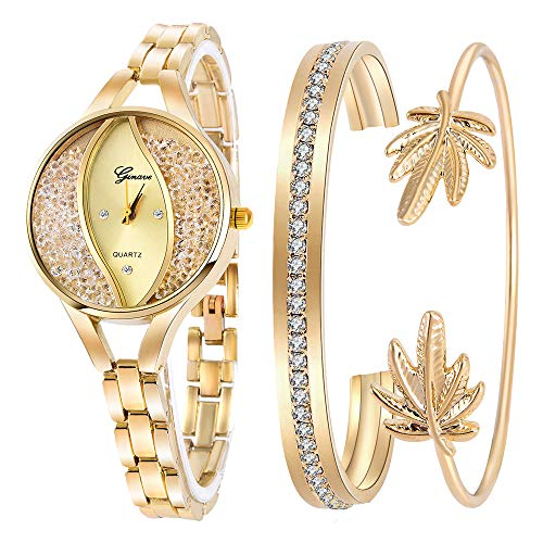 Weicam Women's Diamond Wristwatch Bangle Bracelet Jewelry