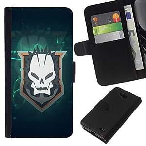 // PHONE CASE GIFT // Moda Estuche Funda de Cuero Billetera Tarjeta de crédito dinero bolsa Cubierta de proteccion Caso LG OPTIMUS L90 / Skull Goth Team /
