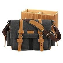 Plambag DSLR Camera Shoulder Bag Canvas PU Leather Messenger Bag (Dark Gray)