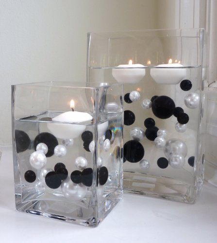 95 Black & White Jumbo Assorted Sizes with Gems Accents Vase Fillers for Centerpieces - Order with Transparent Water Gels for the Floating Look