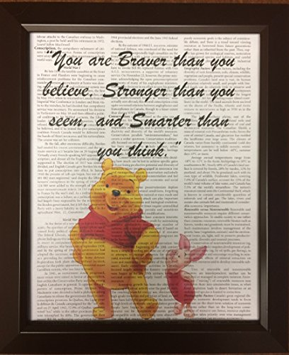 fan products of Winnie the Pooh Quote Encyclopedia Book Page Artwork Print Picture Poster Home Office Bedroom Nursery Kitchen Wall Decor - unframed