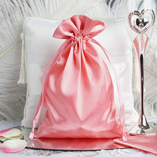 """Tableclothsfactory 12PCS Rose Quartz Satin Gift Bag Drawstring Pouch Wedding Favors Bridal Shower Candy Jewelry Bags - 6""""x 9"""""""