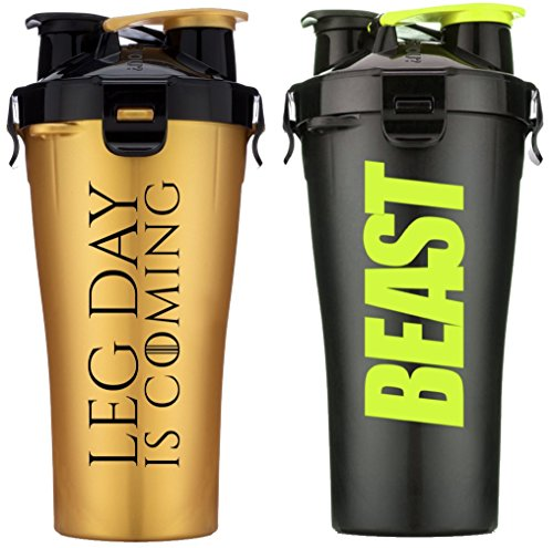 Hydra Cup Dual Threat - Protein & Pre Shaker Bottles, Shaker Cup, Black & Gold, 28oz, 2 Pack (Leg Day & Stealth Beast)