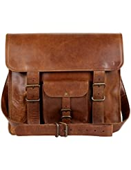 Enew 15 Inch Vintage Genuine Pure Leather Messenger Bag Laptop Briefcase Fit Laptop