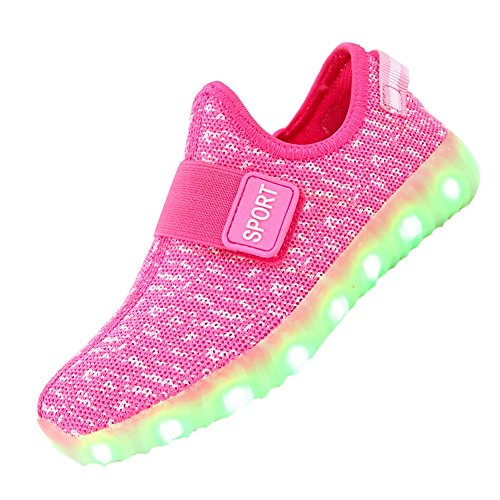 Breathable Pink LED Light Up Shoes Sneakers for Kids Boys Girls