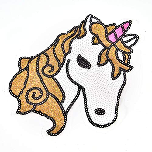 Appliqu - 1pcs Set Diy Large Sequined Vintage Unicorn Clothing Horse Patches Badge Applique Motif Patch - Skirt Statue Cloth Woman Sequin Motif Heart Flower Princess Emoji Women Cream Lase