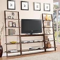 Riverside Furniture Lean Living 3 Piece TV Stand Set in Burnished Brownstone