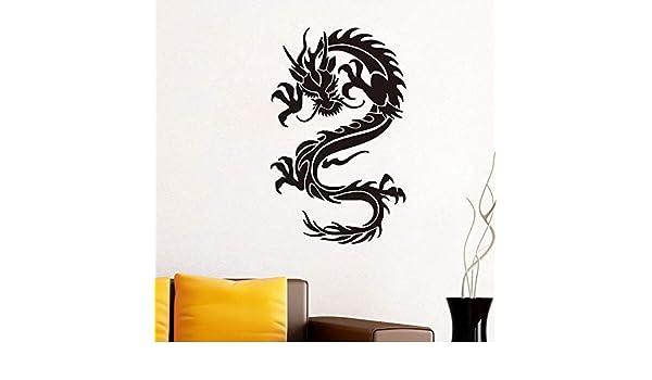 Dragón de estilo chino pegatinas de pared para habitaciones de niños adhesivo extraíble diy arte de la pared tatuajes wallpaper decoración del hogar accesorios 37x59 cm: Amazon.es: Bebé