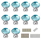 BTSKY 10 PCS 30MM Diamond Shape Crystal Glass Cabinet Knob Cupboard Drawer Pull Handle/Great for Cupboard, Kitchen and Bathroom Cabinets, Shutters, etc (Blue)