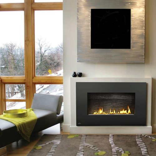 Napoleon Plazmafire Vent Free Wall Mount Natural Gas Fireplace With Painted Black Rectangular Surround