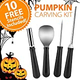 Newbea 4 Pieces Stainless Steel Pumpkin Carving Kit, Professional Pumpkin Shaving Tools Kit with 10 Halloween Carving Pattern Stencils (4 PCS Pumpkin Carving Kit with 10 Stencils)