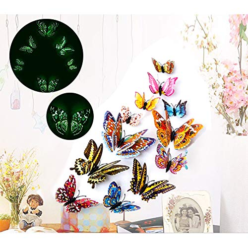 Butterfly Wall Stickers,ForTomorrow 12 PCS 3D Luminous Butterfly Wall Stickers Art Decor Crafts Butterfly Wall Decals Removable DIY Home Decorations Magnets (Wall Stickers Butterfly Night Light 12PCS)