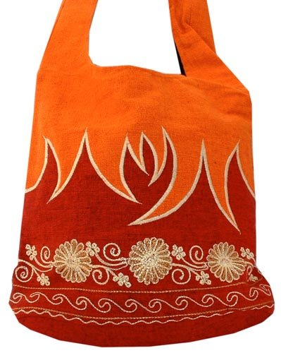 Fabulous Flames Embroidered Bucket Bag (Red and Orange), Bags Central